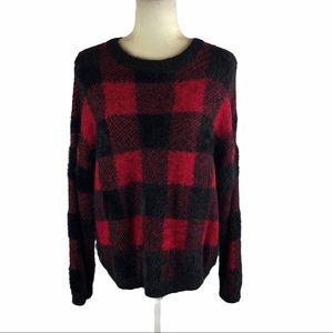 Time And Tru Fuzzy Plaid Sweater